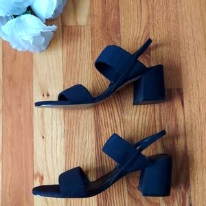 Mootsies Tootsies Lara Dark Blue Thick Strap Square Toed Block Heels Size 7.5